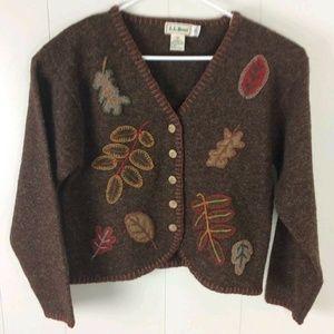 Vtg LL Bean Sweater Cardigan 100% Shetland Wool L